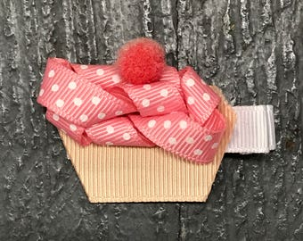 Hair Clip Ribbon Sculpture Headband Bow Birthday Cupcake
