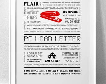 "OFFICE SPACE, ""PC Load Letter"" Typography Print"