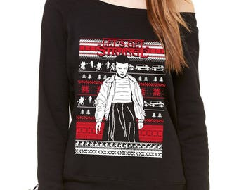Let's Get Strange Ugly Christmas Slouchy Off Shoulder Oversized Sweatshirt