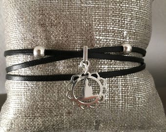 Buddha Silver 925 bail chain adjustable, French creation black leather strap lophelisa