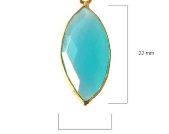 BLUE CHALCEDONY MARQUISE 11X22 mm gold single q