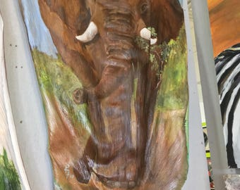 Hand Painted Large Elephant Palm Frond