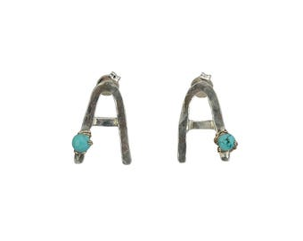 Sterling silver monogram stud, Letter A earring, turquoise jewelry, initial A earring, alphabelt jewelry, personalized earring, gift for her