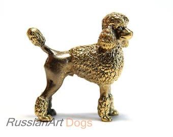 Poodle dog -   miniature statuette of bronze,  metal figurine