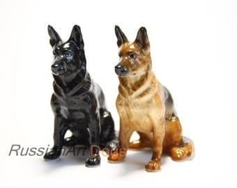 German shepherd dog porcelain figurine handmade statuette