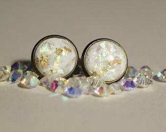 Geode Opal stud earrings