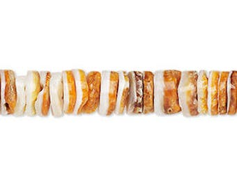 """Spiney Oyster Shells, Heishi Beads, Orange Shell Beads, 8x2mm to 8x4mm, 16"""" Strand, D1037"""
