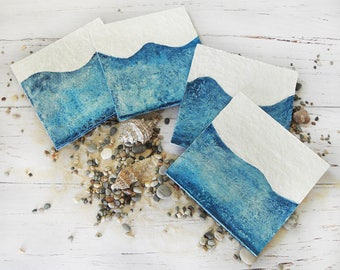 Paper Coasters, Summer Gift, Waves Drink Coasters, Paper Mache Coasters, Sea Coasters, Blue Coasters, Summertime Coasters, Summer Tableware