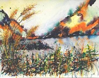 Original Landscape painting Watercolor Art Collectibles ORIGINAL painting landscape Art Watercolor impressionist painting Wall Art Original