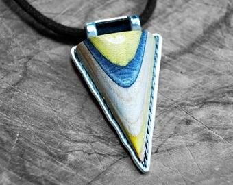 Necklace blue Skateboard wood
