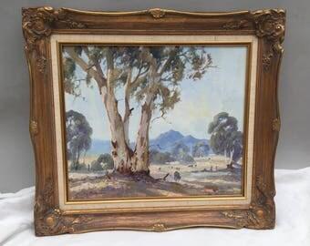 Original Oil Painting Framed Frank Mutsaers Australian Artist Artwork Canvas Hinders Ranges