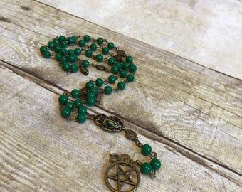 Green antiqued brass scarab rosary