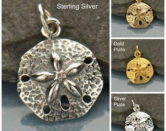 Sterling Silver, Sand Dollar Charm, Sand Dollar, Silver Sand Dollar, By the Sea, Under the Sea, Sea life Charm, Sea Life Jewelry