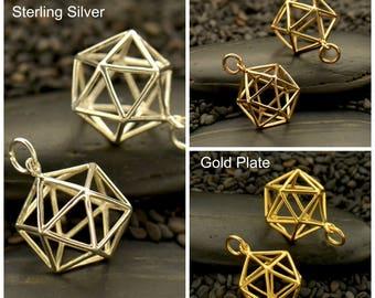 Sterling Silver, Sacred Geometry, Geometric Charm, Wire Icosahedron, Geometric Pendant, Icosahedron Pendant, Geometric Jewelry, Wire Pendant
