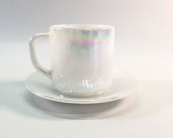 Vintage Opalescent White Federal Glass Cup and Saucer Moonglow Iridescent Coffee Mug