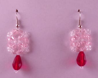 Pink and Red Square Earrings