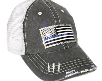 Blue Line Flag Back The Blue Flag Blue Line Hats Police wife Gift Distressed Trucker Police Officer Thin Blue Line flag Policewoman Crystals