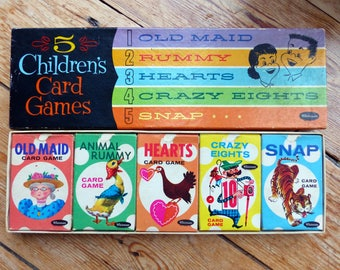 5 Children's Card Games by Whitman ORIGINAL BOX (Old Maid, Rummy, Hearts, Crazy Eights and Snap)