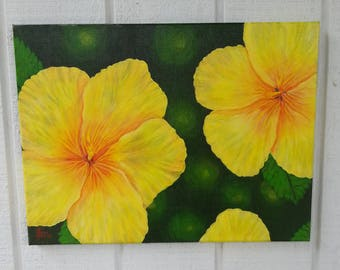 Flower Painting - Hibiscus Painting - Acrylic Painting - Original Canvas Art  - Realism Art  -  Small Painting - Australian Art