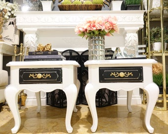 White w/ Black Shabby Chic French Provincial Nightstand Set