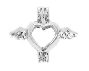 2 Heart pearl cage pendants fits 8mm bead, 4833, 700