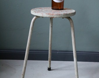 Vintage stool, industrial design, industrial design, light green, light brown