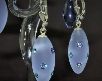 Earrings, olive, lilac satin, Swarovski crystals, Brisur 925/000 Silver rhodium plated