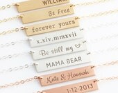 Personalized Bar Necklace/Personalized Nameplate Necklace/Gold Bar Necklace for Her/Gift for Her/Gold,Silver,Rose Gold Bar/Mom Gift/UV3