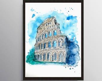 Italy art, Colosseum, Rome Print, Watercolor Painting, Cityscape, Illustration art, City art, Travel art print, Modern art, City Print, Rome