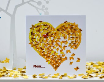 Mom Heart of Gold Card, Mothers day Card, Mom Thank You Card, Mom Heart Card, Mom Card, Mom Birthday Card. Moms Day Card. Mom Butterfly Card