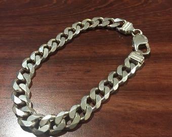 925 Sterling Silver Curb Link Mens' Bracelet