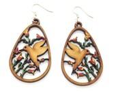 Boucles d'oreilles colibri réalisées à la main en bois - bijoux mexicains