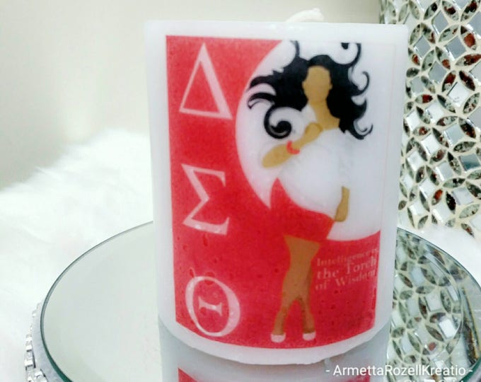 Delta Sigma Theta Sorority Lady Candle, logo candles, Sorority candles, birthday gifts, anniversary gifts