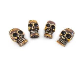 4pc Large Skull Bead, Resin Skull Beads, Tribal Beads, 24x13, Day of the Dead Skull Beads, Dia de los Muertos, Halloween