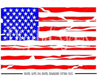 Distressed USA Flag svg / dxf / eps / png files. Digital download. Compatible with Cricut and Silhouette machines. Small commercial use ok.