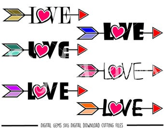 Love Heart Arrows svg / dxf / eps / png files. Digital download. Compatible with Cricut and Silhouette machines. Small commercial use ok.