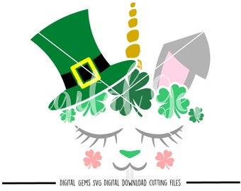 St Patrick's Day Bunny Rabbit Face svg / dxf / eps / png files. Download. Compatible with Cricut and Silhouette machines. Commercial use ok