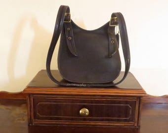 Spring Sale Coach Legacy Bag In Black Leather With Adjustable Crossbody Strap- Made In United States- Frayed Strap