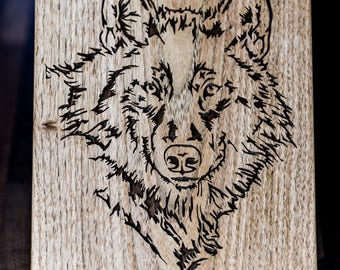 Hand made Wolf  Portrait with Black Limba Wood