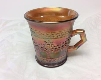 "Fenton Marigold Iridescent "" Orange Tree"" Pattern Carnival Glass Mug Cup"