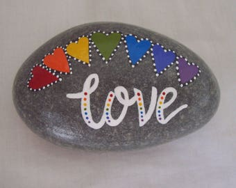 Message Pebble LOVE Hand Painted Natural Pebble