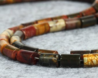 Natural Picasso Jasper Beads, Tube Smooth Beads, Jasper Stone Beads, Loose Gemstone Beads Supply, 8 mm 15'' strand