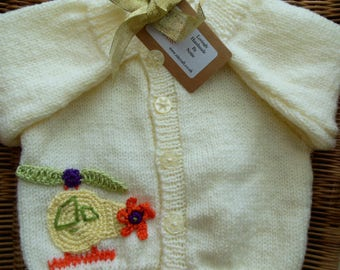 Hand Knit Baby Boy's Cardigan Sweater with Crochet Helicopter Applique and Custom Initial Cream Size 6 - 9 months Personalised  Toddler Gift