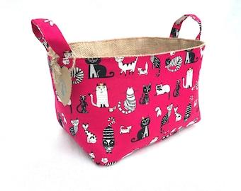 Cat Fabric Basket Organizer, Storage Basket, Fabric bin,diaper bin, Kids Toys, Japanese cotton, House warming gift, Cat Lover, Container bin