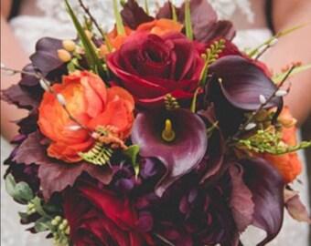 Fall wedding bouquet etsy fall wedding bouquet plum wedding flowers autumn bouquet junglespirit Image collections