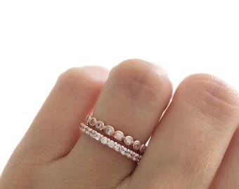 Rose Gold Wedding Bands. Eternity Band Ring. Fine Cz Stacking Rings. Rose Gold Ring Set. Sterling Silver Rose Gold Plated Wedding Bands.