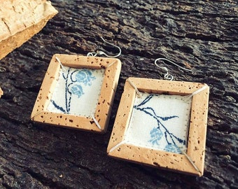 Earrings Floral Frames Blue sughero\stoffa artistic Recycle-jewellery collection Frames