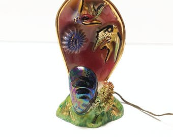 Vintage Monaco ceramic mussel lamp, 1960's lamp, retro and kitsch pottery lamp made in france