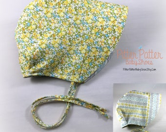 Yellow Summer Baby Bonnet - Infant Sun Hat - Reversible Bonnet - Mustard Yellow Sun Bonnet- toddler sun bonnet- Baby Gift -Spring Baby Gif