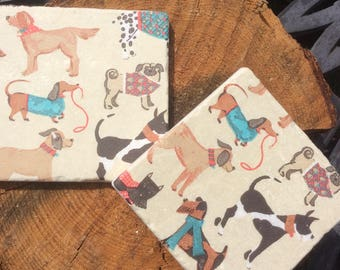 Set of 2 Marble Coasters ~ Doggy Designs~Dog Breeds~Dog tiles~Dog lover gift~Dog lover decor~Colourful Dogs~Dog Coaster sets~Quirky Coasters
